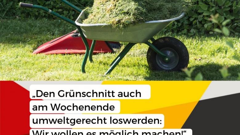 Das Bild zeigt eine Schubkarre mit Grünschnitt und das Zitat von Jörg Klepper.