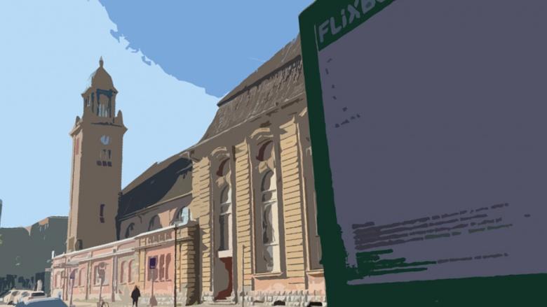 Das Bild zeigt die Fernbushaltestelle mit dem Uhrturm des Bahnhofes künstlerisch verfremdet.
