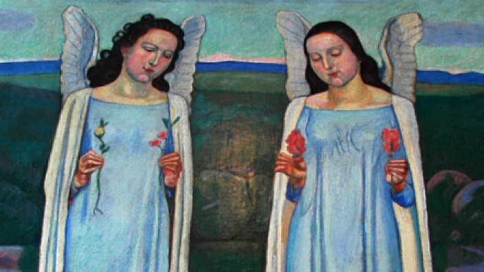 """Das Foto zeigt einen Gemäldeausschnitt aus """"Auserwählte"""" von Ferdinand Hodler im Hagener Hohenhof."""