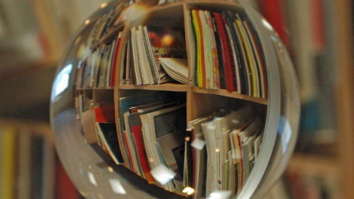Das Bild zeigt ein Bücherregal durch eine Glaskugel betrachtet´.
