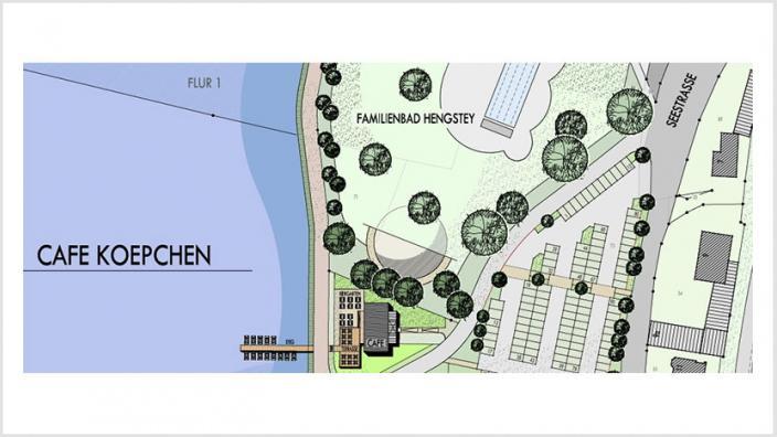 Das Bild zeigt einen Kartenentwurf mit einem Lageplan des Café Koepchen
